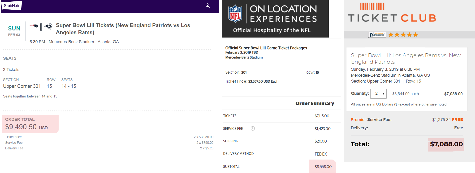 comparing super bowl ticket prices ticket club